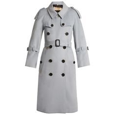 Burberry Lakestone double-breasted cashmere trench coat (€1.790) ❤ liked on Polyvore featuring outerwear, coats, light blue, cinch coats, burberry coat, cashmere trench coat, wool cashmere coat and flare trench coats