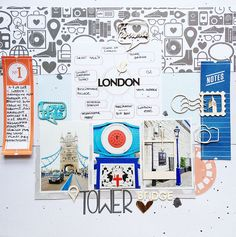"""Love the details in documentation here and the balance of paper at the top with the photo series.  Also love the use of """"ticket"""" paper and journal strips act as a kind of echo of the bridge itself.  Fantastic. Tower Bridge by MonaLisa at @Studio_Calico"""