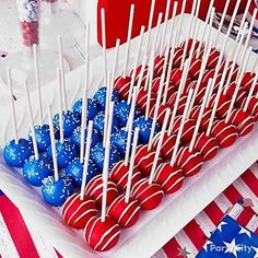 4th of July Patriotic Oreo Balls  Pulse a bag of Oreos in food processor. Add a package of softened cream cheese. Roll into balls. Insert sticks. Dip in melted white chocolate colored with food coloring. Decorate with sprinkles and drizzled white chocolate. Let the fireworks commence.