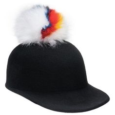 Women's Eugenia Kim 'Bo' Genuine Arctic Fox Pom Wool Hat ($221) ❤ liked on Polyvore featuring accessories, hats, black, wool hat, colorful hats, pom pom cap, wool cap and woolen hat