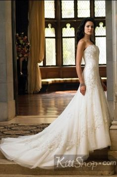 Glamorous A Line White Spagetti Straps Beadings Appliques Strapless Floor Length Wedding Dress - Kittshop.com