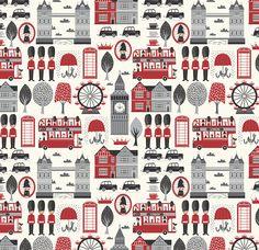 London Fabric - London Calling Conversational By Stacyiesthsu - London UK Great Britain England Cotton Fabric By The Yard With Spoonflower London Calling, Fabric London, Storing Blankets, Blond Amsterdam, Custom Fabric, Fabric Shop, Scrapbook Paper, Travel Scrapbook, Pattern Wallpaper