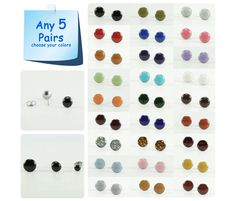 Any 5 Pairs  Stud Earrings Set  Choose Your Colors and by biesge