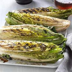 Grilled Romaine Hearts Recipe... Made this tonight.... YUM!!! (freaked the hubby out, but after he tried it... he was sold)