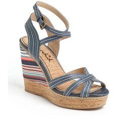 Splendid 'Kayla' Wedge Sandal Denim 10 M ($59) found on Polyvore