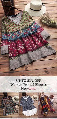 UP TO 53% OFF! Vintage Floral Print Patchwork Blouses For Women.  #vintage #floral #print