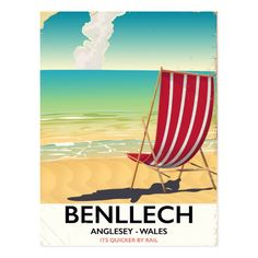 Shop Benllech, Anglesey Wales vintage travel poster Postcard created by bartonleclaydesign. Anglesey Wales, Cornwall Beaches, Thing 1, Vintage Travel Posters, Vintage Luggage, Wood Wall Art, Devon, Seaside, Fine Art