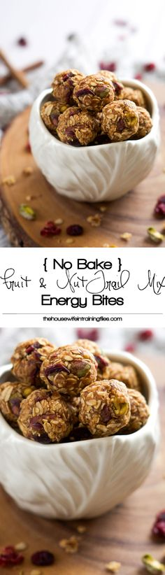 // Quick and healthy no-bake Fruit and Nut Trail Mix Energy Balls are loaded with dried cranberries, oats and pistachios
