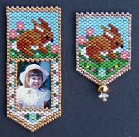 Baby Rabbit Photo Frame and/or Pin by Deb Moffett-Hall aka Patterns to Bead