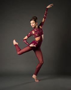 Unitard: Stretch burgundy sequin lace, burgundy spandex, burgundy stretch mesh, and nude spandex. Modern Dance Costume, Solo Dance Costumes, Contemporary Dance Costumes, Ballet Costumes, Acro Dance, Lyrical Dance, Dance Poses, Unitard Dance, Dynamic Dance