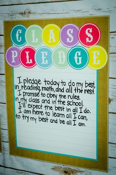 Create a Class Pledge in an adorable Shabby Chic-themed classroom by combining the letters and Lined Chart