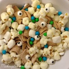 Monster Snack Mix -- planning on adding some yogurt covered mini-pretzels
