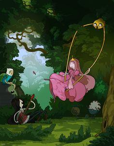 """Releitura de """"O Balanço"""" de Fragonard com as personagens de Hora de Aventura…"""