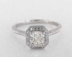 66de8c313 1.2ct Cushion Halo Engagement Ring in White Gold - See it in 360 HD  SuperZoom