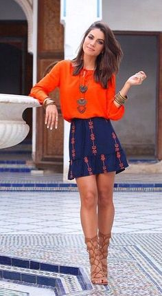 Add some color to your wardrobe with this orange and navy duo