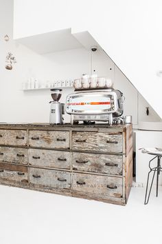 Interior design ideas: Industrial chic, vintage bar, old wood, chrome coffee machine and white walls