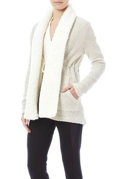 Cozy cardigan sweater with fuzzy collar, optional drawstring waist, and metallic fleck detail.    Acton Sweater by Jack by BB Dakota. Clothing - Sweaters - Cardigans New York