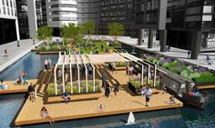 A floating green 730-square-meter green space is slated to open this spring at London's Merchant Square on the Grand Union Canal.