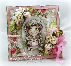Totally beautiful card with lots of 3-d flowers by Whimsy Stamps