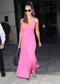 e61c04b345e Jessica Alba Maxi Dress - Jessica Alba looked totally darling in a low-cut  Barbie-pink maxi dress by Narciso Rodriguez while headed out in New York  City.