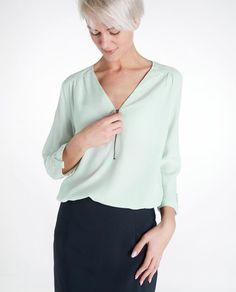Crêpe blouse met rits