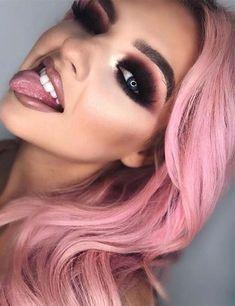 Smokey Pink Lipstick & Eye Makeup Ideas for 2019 - halloween eye makeup Pink Lipstick Makeup, Red Lipstick Shades, Peach Lipstick, Natural Lipstick, Eye Makeup Tips, Beauty Makeup, Hair Makeup, Makeup Ideas, Makeup Blog