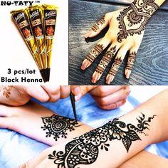 Nu-TATY Mehndi Black Henna Tattoo Paste Cone 3pcs/lot + Stencil Temporary Flash Tattoo Body Art Henna Wedding Adult Sex Products