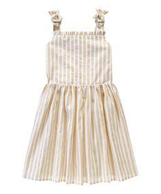 Look what I found on #zulily! White & Gold Stripe Tie Dress - Girls #zulilyfinds