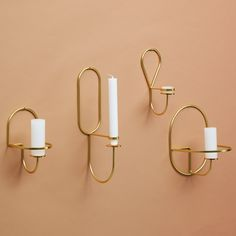 From Danish design house HAY, this range of minimalistic brass candle holders are designed in a variation of round shapes - a stunning wall display when spaced out around a room or grouped together fo