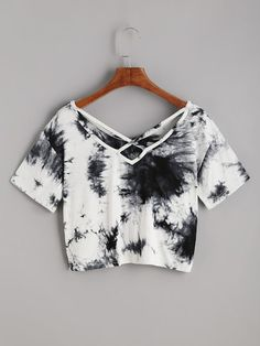 Shop Tie Dye Criss Cross Back Crop T-shirt online. ROMWE offers Tie Dye Criss Cross Back Crop T-shirt & more to fit your fashionable needs. Girls Fashion Clothes, Teen Fashion Outfits, Outfits For Teens, Girl Fashion, Summer Outfits, Girl Outfits, Mens Fashion, Fast Fashion, Fashion Art