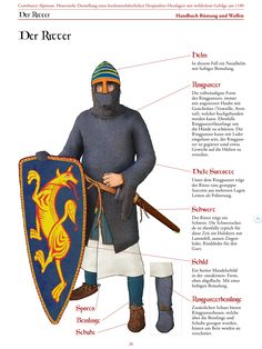 "Page from Kitguide ""Armor and weapons"" of Comthurey Alpinum, Living History 1180 ad, Switzerland. Armoured knight around Medieval Weapons, Medieval Knight, Medieval World, Medieval Times, Norman Knight, Renaissance Time, Friedrich Ii, High Middle Ages, Arm Armor"