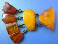 b1 Vintage Old Jewelry Honey Yellow Cognac Natural Baltic Amber gem Brooch 17 g