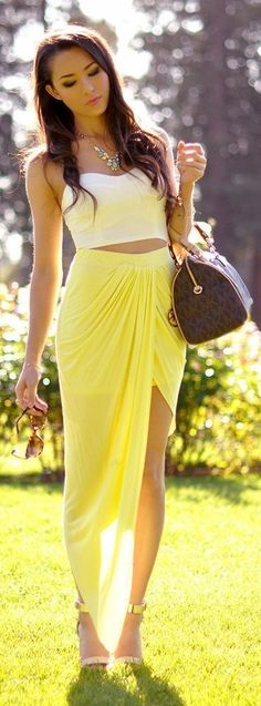 #casualoutfits #spring | White Bustier + Yellow Maxi Skirt | Hapa Time
