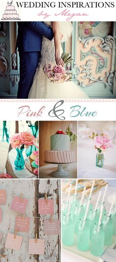 Soft pastel blues and pinks combo.