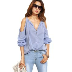 Now available on our store: Blue Striped V Ne... Check it out!  http://ladieswishlist.com/products/blue-striped-v-neck-cold-shoulder-long-sleeve-blouse?utm_campaign=social_autopilot&utm_source=pin&utm_medium=pin