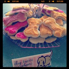 Dog bone cookies for the dog themed birthday party