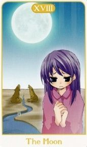 """3-22-13 Friday's Tarot: THE MOON (Manga Tarot) – Booklet, p. 27: """"There's a reason this young lady looks so concerned. Those aren't just any dogs behind her, but the gatekeepers to a dark world of confusion and fear. Many times, this card represents troubled or unstable emotions. Bewilderment rules here in the land of shadows, and every direction can feel like the wrong one."""" The Moon Tarot Card, Daily Tarot, Card Drawing, Confusion, Tarot Cards, Looking For Women, Booklet, Shadows, Friday"""
