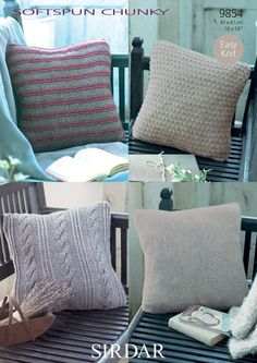 """Four sophisticated cushions covers which knit up beautifully in Softspun Chunky by Sirdar, a loosely twisted combination of Nylon, wool and acrylic, which has a slightly shiny, metallic appearance, but is soft and cosy. All 4 cushion covers are quick and easy to knit on 6.5mm needles. Also required: 36cm or 14"""" zip for each cushion and a cable needle for the Cabled cushion cover only."""