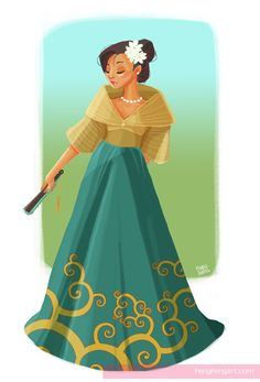 filipiniana maria clara by Peng-Peng on DeviantArt Modern Filipiniana Gown, Filipiniana Wedding, Philippine Mythology, Philippine Art, Filipino Art, Filipino Culture, Philippines Fashion, Philippines Culture, Maria Clara Dress Philippines
