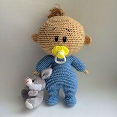Crochet Dolls Amigurumi Freely: Baby With Soother Crochet Gratis, Crochet Amigurumi, Cute Crochet, Amigurumi Doll, Crochet Toys, Crochet Dolls Free Patterns, Crochet Doll Pattern, Doll Patterns, Knitting Patterns