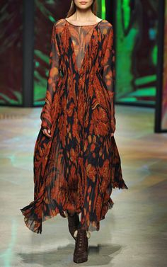 Pixelated Floral Crinkle Chiffon Sunburst Pleated Gown by Thakoon