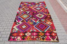 "VINTAGE Turkish Kilim Rug Carpet, Handwoven Kilim Rug, Antique Kilim Rug ,Decorative Kilim  - 68"" x 120"" (174 x 305 CM)"
