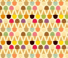 All your favorite flavors, in summery colors with just a hint of vintage texture to the cones and scoops, on a creamy background.