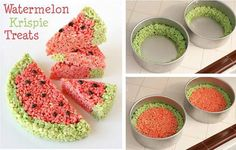 Watermellon Rice Krispy Treats. Just perfect for summer get-togethers or picnics.