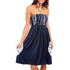 Stanzino Women's Navy/ White Jeweled Halter Dress
