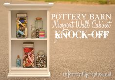 Old wooden cabinet transformed to look like the Newport Wall Cabinet from Pottery Barn.- It began as this old country wall shelf with chicken wire doors on it. Furniture Projects, Furniture Makeover, Diy Furniture, Small Furniture, Repurposed Furniture, Diy Craft Projects, Home Projects, Diy Crafts, Knock Off Decor