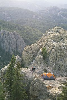 Camping on Harney Peak in the Black Hills of South Dakota.