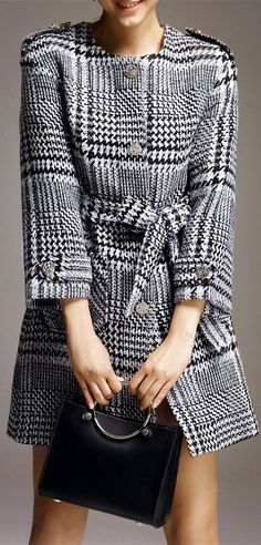 Single Breasted Houndstooth Coat with Belt