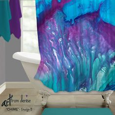 Colorful shower curtain featuring abstract ArtFromDenise. Colors include teal, aqua, navy blue, purple, and plum. View more info at https://www.etsy.com/listing/475726001