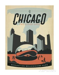 Chicago: The Cloud Gate Prints by Anderson Design Group at AllPosters.com